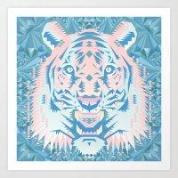 Pastel Quartz Tiger Art Print