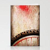 Bike Wheel:: Red Spray Stationery Cards