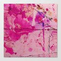 pink floral on crumbling wall Canvas Print