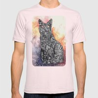 Black Cat Mens Fitted Tee Light Pink SMALL