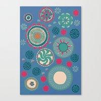 Demin Blue and Flowers Canvas Print