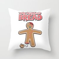 The Walking Bread  Throw Pillow