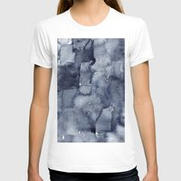 Indigo Watercolor Womens Fitted Tee White SMALL