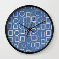 Picture Frames Blue Wall Clock