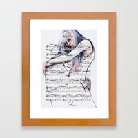 Waiting Place on sheet music Framed Art Print