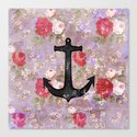 Vintage Nautical Anchor Purple Pink Floral Pattern  Canvas Print