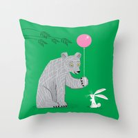 The Bear and The Bunny Throw Pillow
