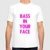 Bass In Your Face Mens Fitted Tee White SMALL
