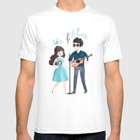 She & Him Mens Fitted Tee White SMALL