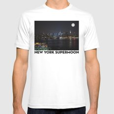 New York Supermoon Mens Fitted Tee SMALL White