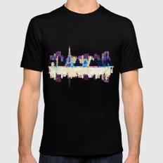 Paris France, City Skyline Mens Fitted Tee Black SMALL
