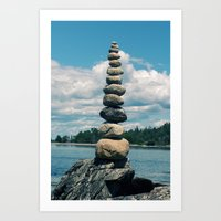 Leaning Tower of Pebbles Art Print