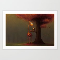 Autumn Giraffe Art Print