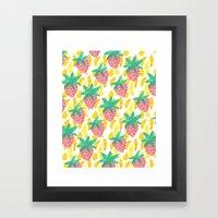 Pink Strawberries Framed Art Print