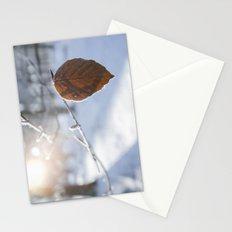 Frozen Beech leaf. Stationery Cards
