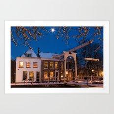 Winter Evening - Weesp, the Netherlands Art Print