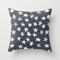 Linocut Stars - Navy & White Throw Pillow