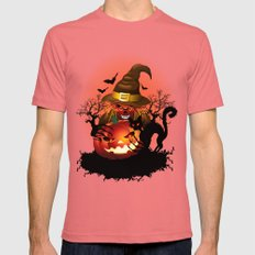Skull Witch Creepy Halloween Mens Fitted Tee Pomegranate SMALL
