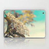 White flowers on blue sky (Retro flower photography) Laptop & iPad Skin