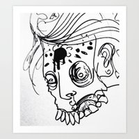 Gnarly Zombie Sketch Art Print