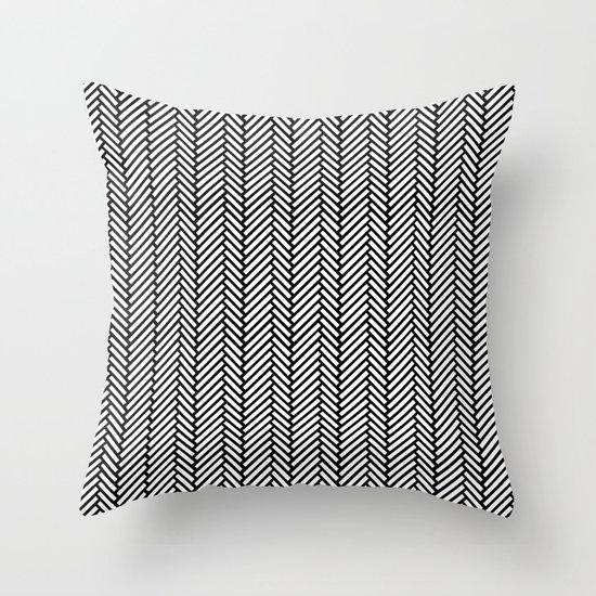 Herringbone Black Throw Pillow