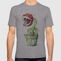 Piranha Plant Art Mens Fitted Tee Athletic Grey SMALL