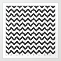 Funky Chevron - Black Art Print