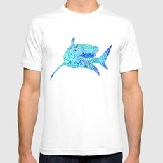 Swirly Shark Mens Fitted Tee SMALL White
