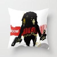 Monkey Go Boom Now Throw Pillow