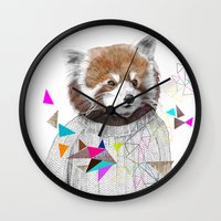 RED PANDA by Jamie Mitchell and Kris Tate Wall Clock