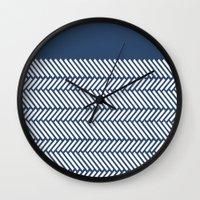 Herringbone Boarder Navy Wall Clock