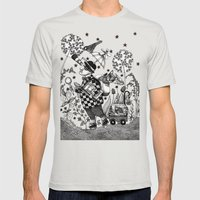 Mr. Hat goes to the Park Mens Fitted Tee Silver SMALL