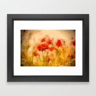 Fiery Poppies In A Golde… Framed Art Print
