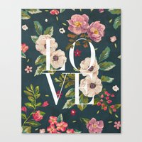 LOVE // Floral Typograph… Canvas Print