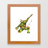 Nunchaku Turtle Framed Art Print