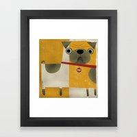 PUG WITH YELLOW Framed Art Print