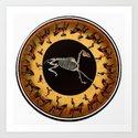 Skeleton Horse Hamster Wheel Art Print