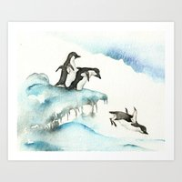 Jumping Penguins - Water… Art Print