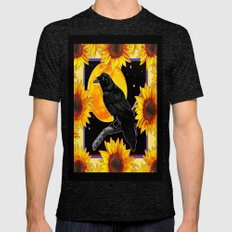 Black Surreal Crow Full Moon Sunflowers Fantasy Art Mens Fitted Tee Tri-Black SMALL