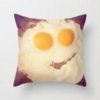 Smiley Egg Throw Pillow