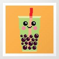 Happy Pixel Bubble Tea Art Print