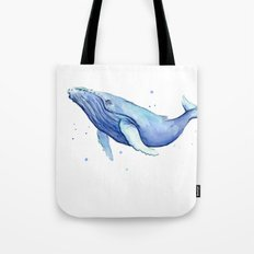 Humpback Whale Watercolor Painting   Whimsical Animal Art Tote Bag