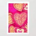 Hearts pattern - for iphone Art Print