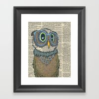 Owl Wearing Glasses Framed Art Print