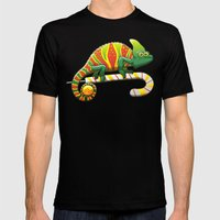 Christmas Chameleon Mens Fitted Tee Black SMALL