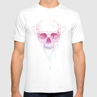 Skull In Triangle Mens Fitted Tee White SMALL