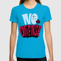 No Offense Womens Fitted Tee Teal SMALL