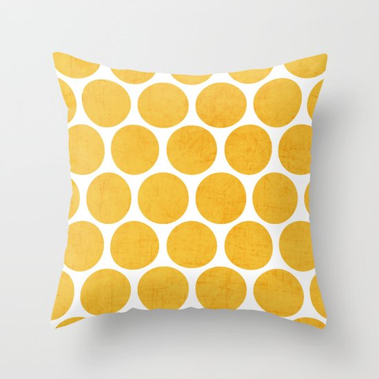 yellow polka dots Throw Pillow