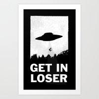 minimalist Art Prints featuring Get In Loser by moop