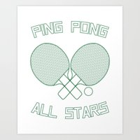Ping Pong All Stars (Green) Art Print